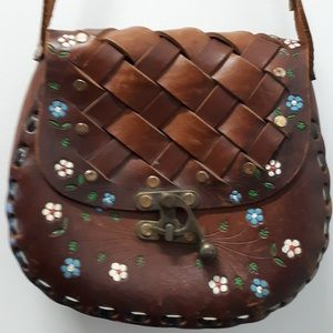 Vintage Hand Tooled and Painted Purse